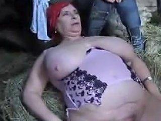 French Bbw Granny Olga Fucked By 2 Men In The Farm Porn 41